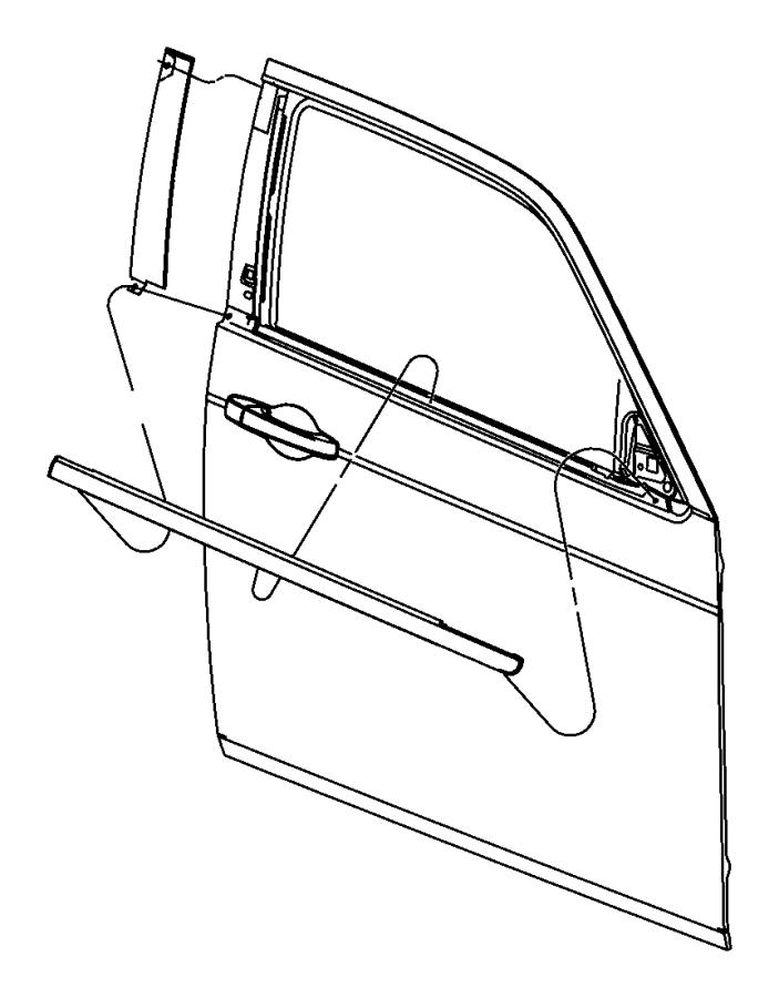 2006 Dodge Charger Weatherstrip. Front door belt. Left