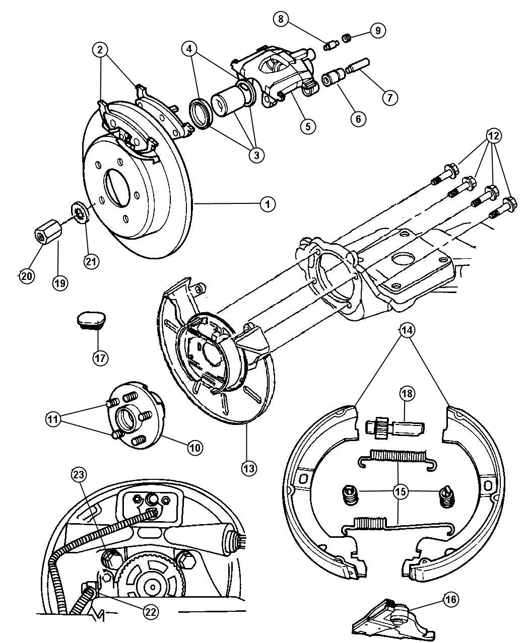 Dodge Caravan Pad kit. Rear disc brake. [4-wheel disc