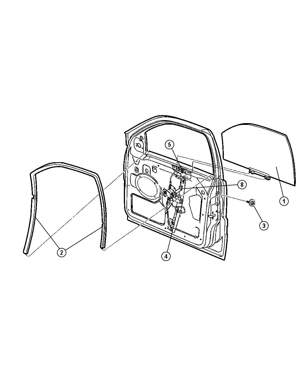 Jeep Grand Cherokee Seal Front Door Glass Left Run Channel Wiring Body Air