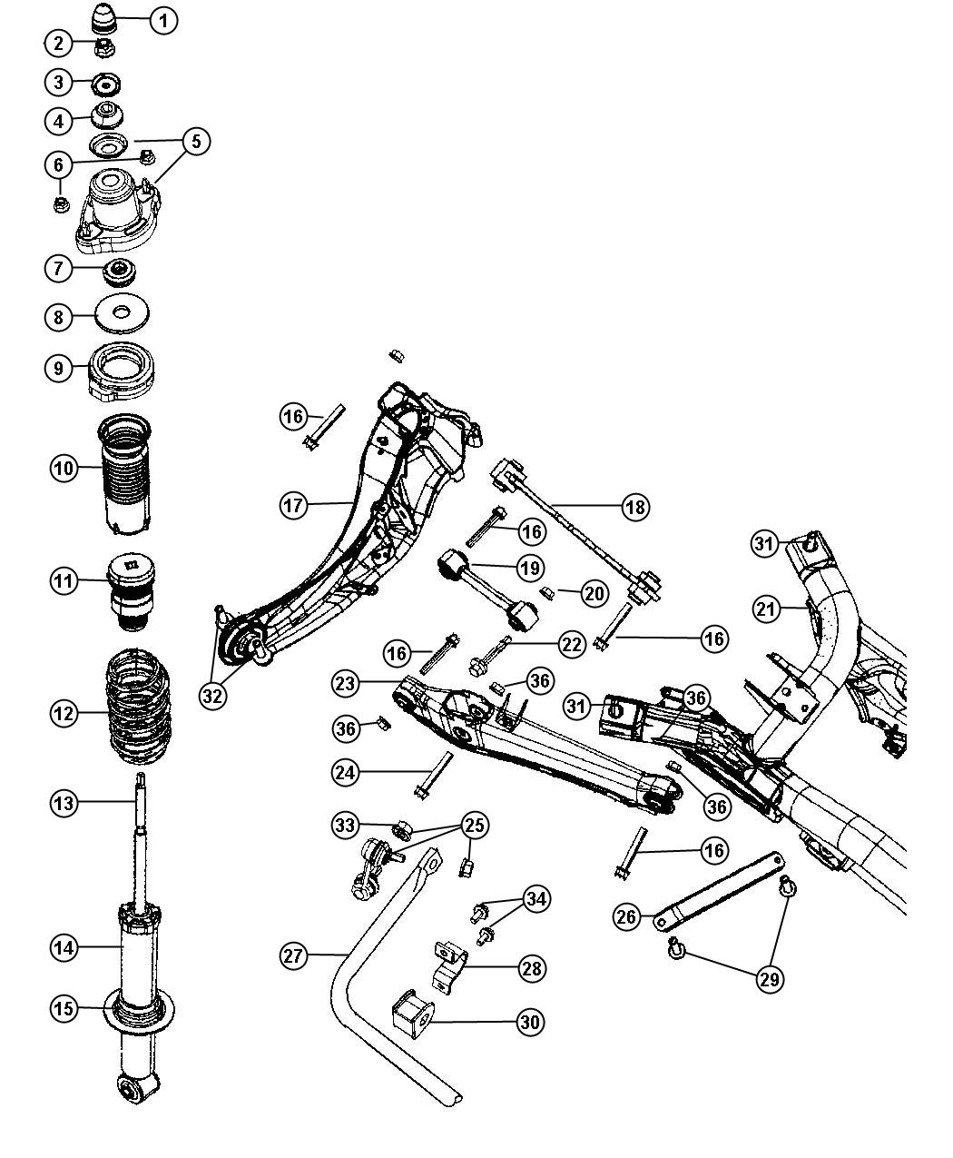2007 Dodge Caliber Link. Rear lateral. Suspension, module