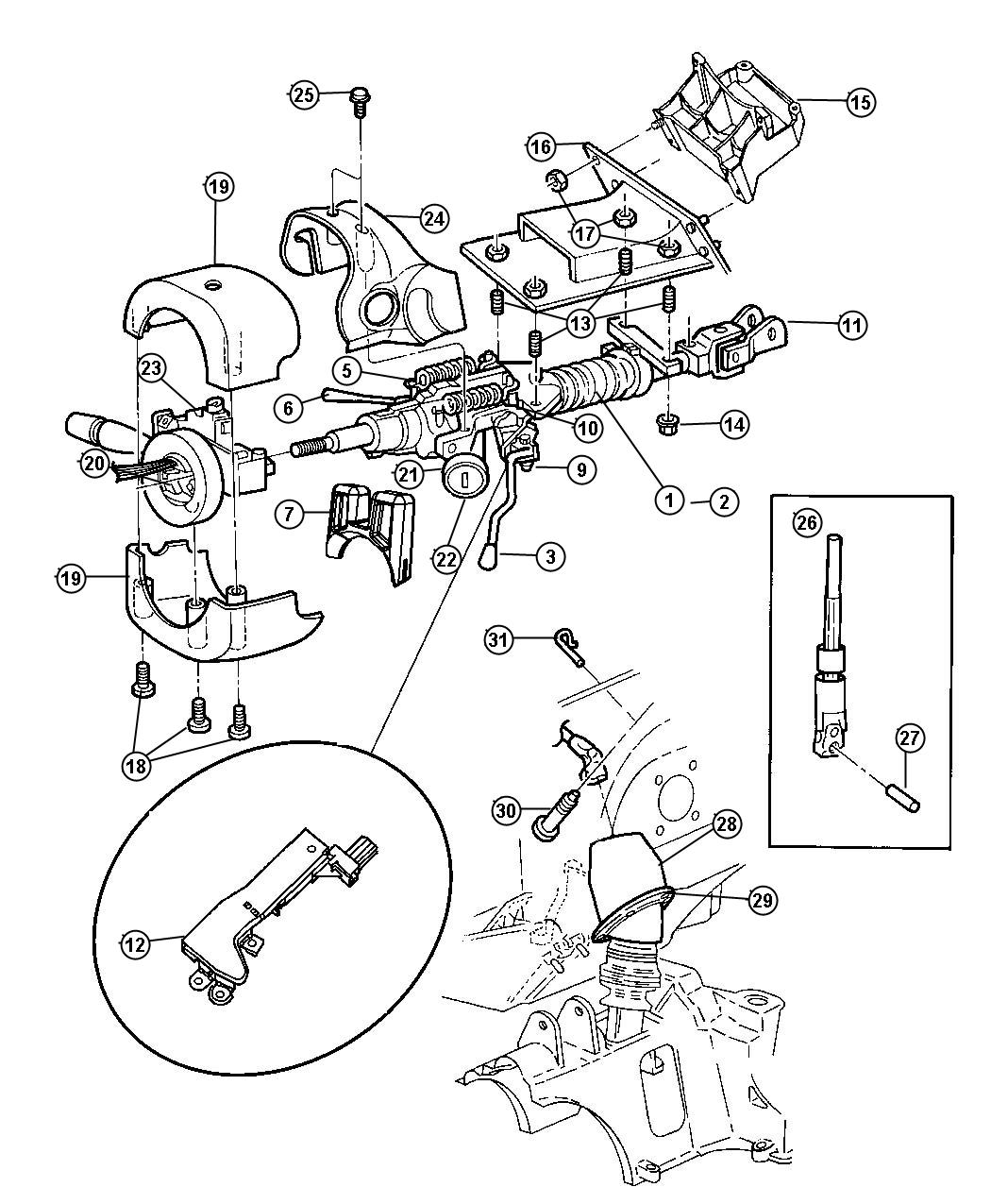 Location On 97 Ford F 150 On 97 Lesabre Steering Column Parts Diagram
