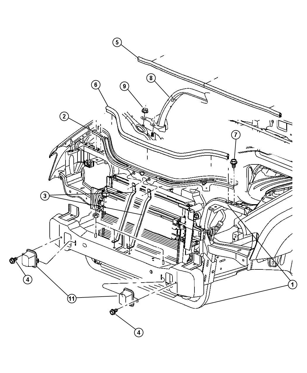 Dodge Charger Radiator Support Diagram