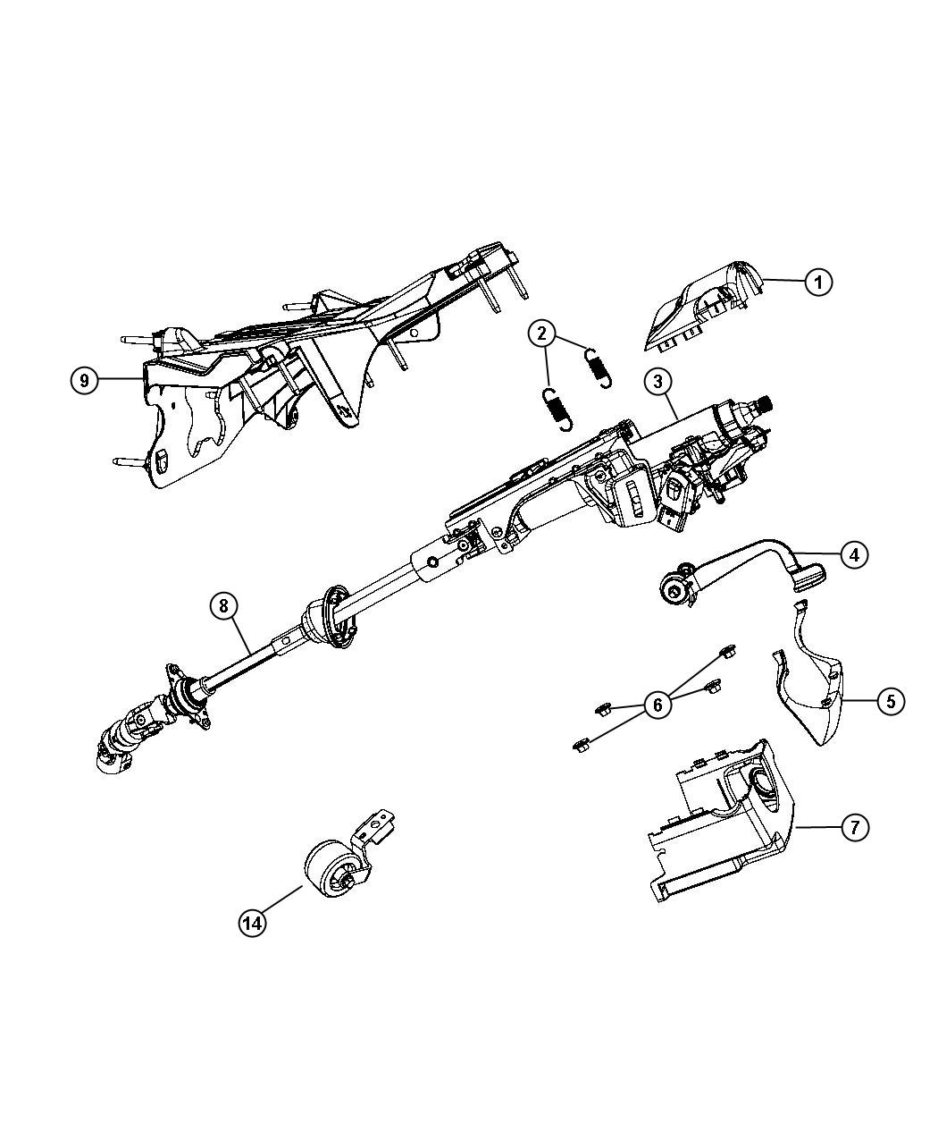 Jeep Liberty Bracket. Steering column. Export, right hand