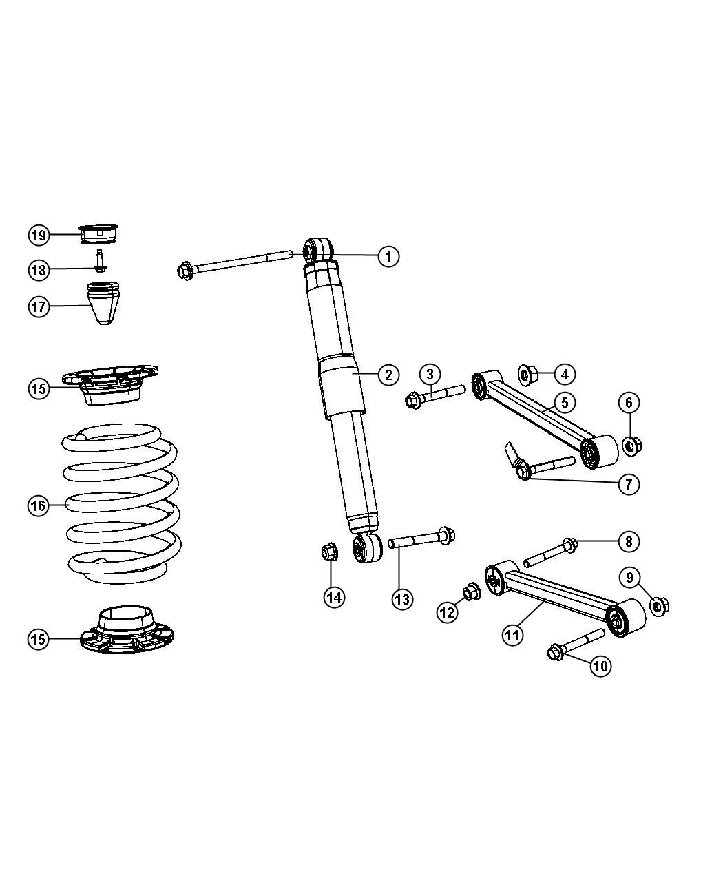 Jeep Grand Cherokee Shock absorber. Suspension. Rear