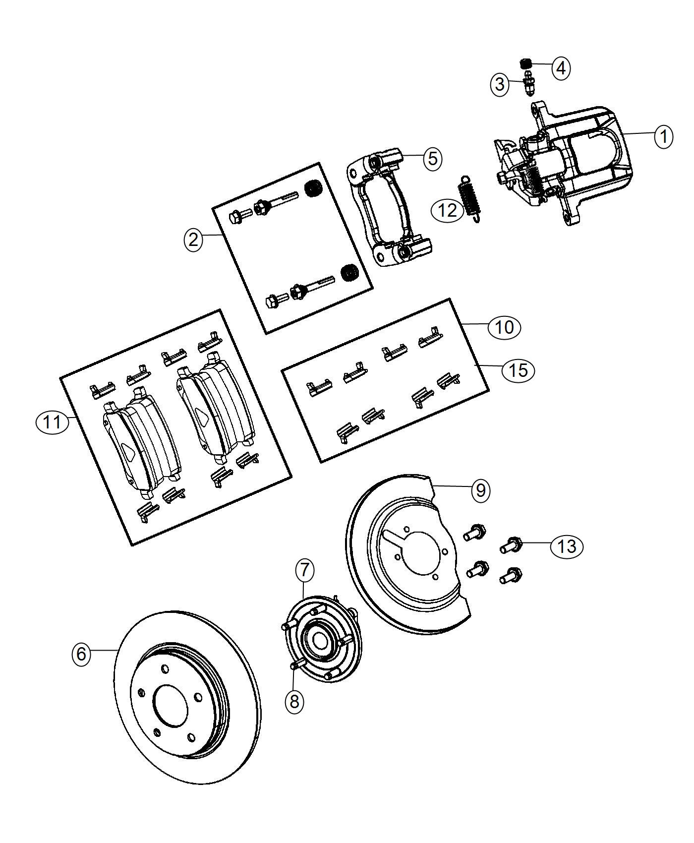 Chrysler Town & Country Pad kit. Rear disc brake. Wheel
