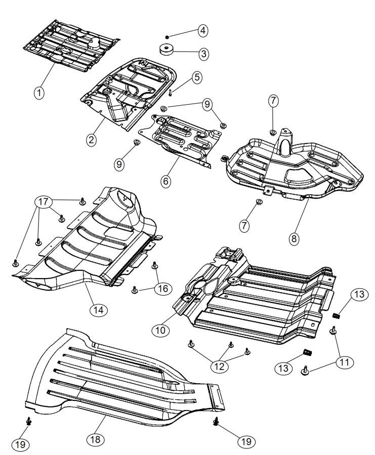 Jeep Grand Cherokee Belly pan. Front. [5.7l v8 hemi mds