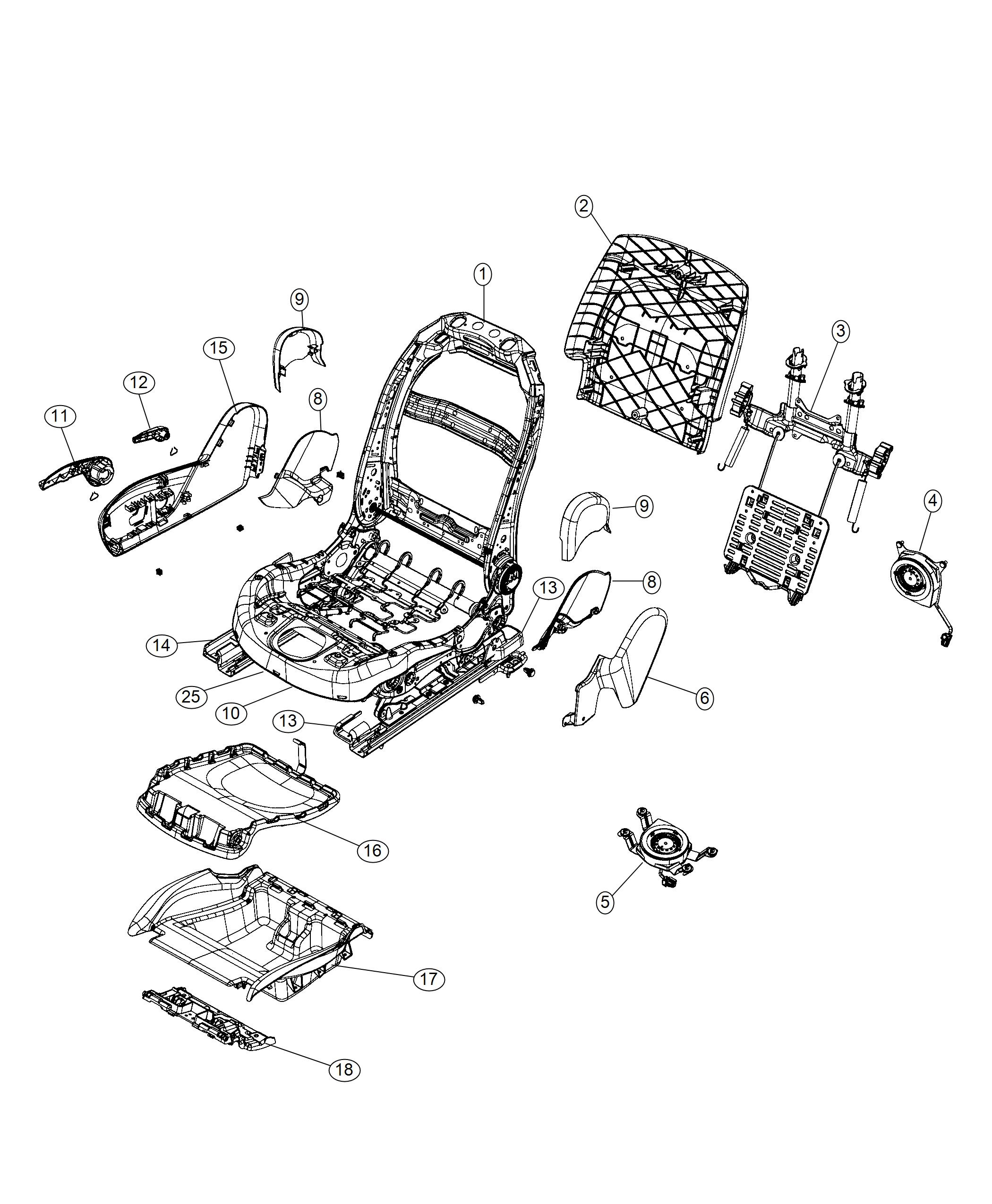 Jeep Cherokee Frame Front Seat Back Export