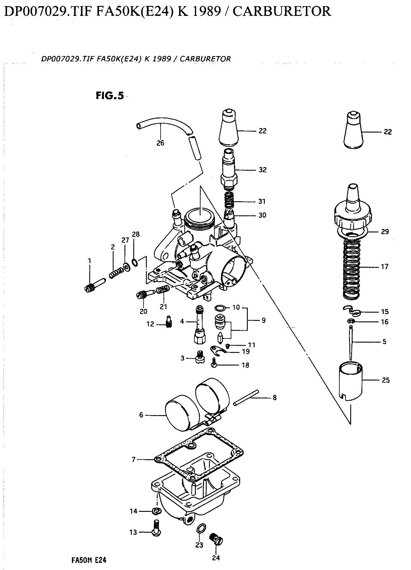 Suzuki FA50 Carburettor Diagram & Parts list jpgs'