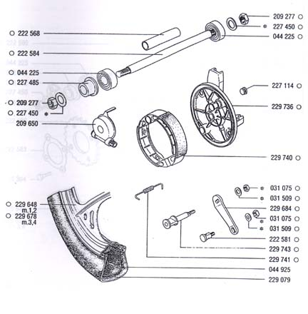 TOMOS A35 Front Mag Front Wheel Parts Ref. Diagram T11c