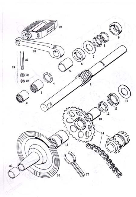 Diagram Reference #T6c-TOMOS A3 Pedal Shaft & Parts