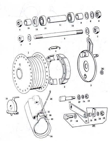 TOMOS A3 Spoke Front Wheel Parts Ref. diagram T11a