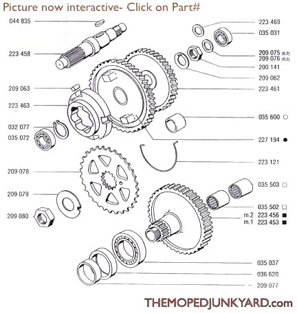 Diagram Reference #T5b-TOMOS A35/A55 Transmission Gears