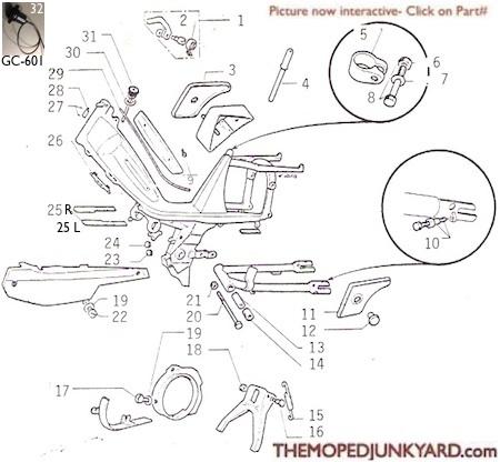 Motobecane frame parts Ref. Diagram MB10d