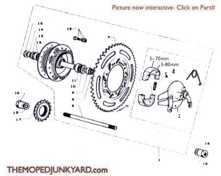 Motobecane Rear Hub Ref. Diagram MB11b