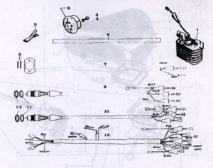 Motobecane Electrical Parts Ref Diagram MB12d