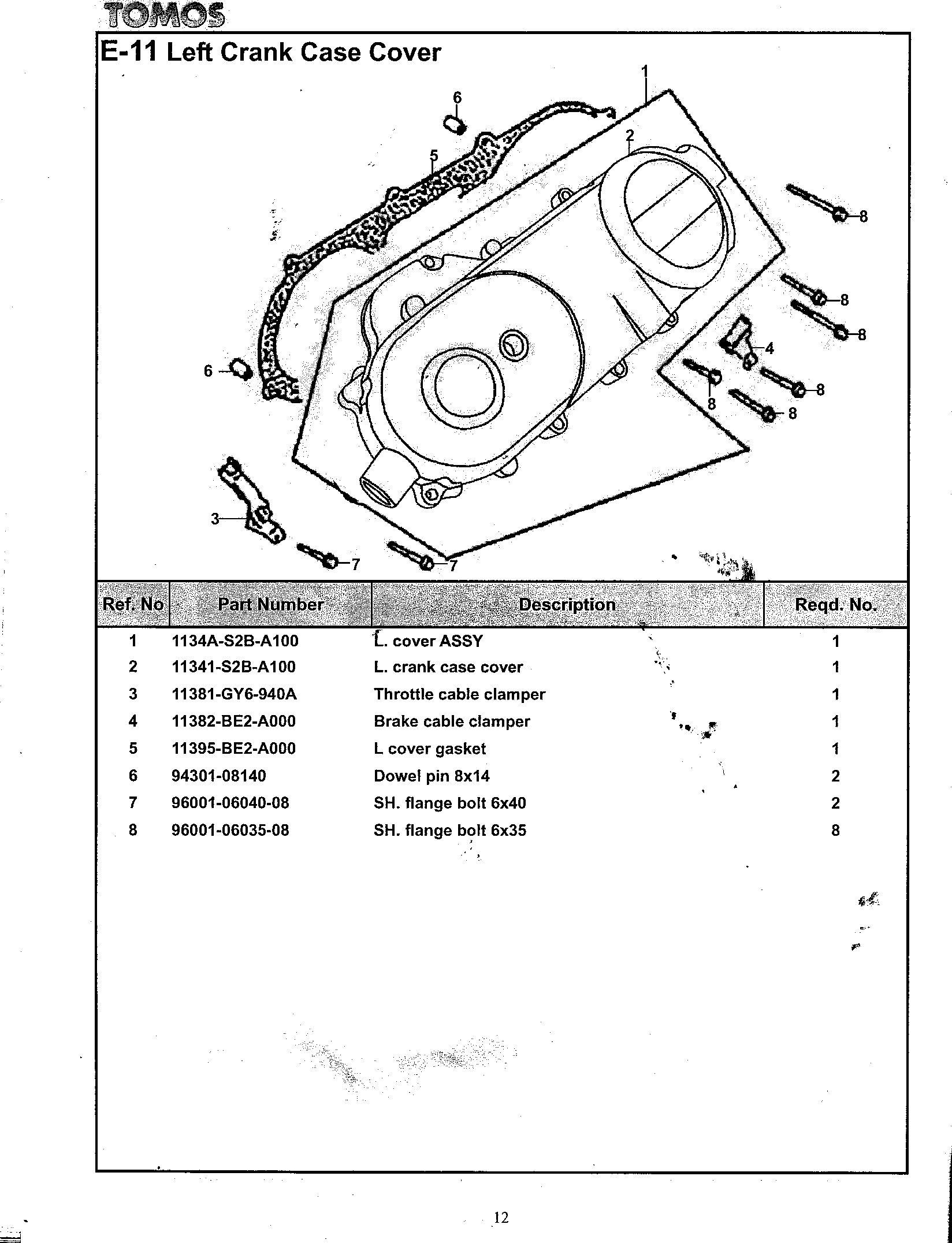 E 11 left crank case cover