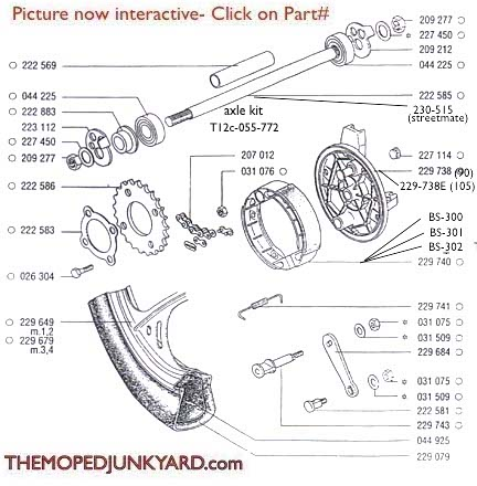 TOMOS A35 Rear Mag Wheel Parts Ref. Diagram T12c
