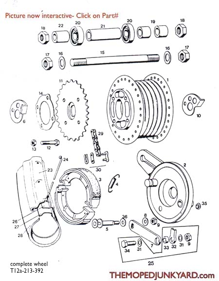 TOMOS A3 Rear Spoke Wheel Parts Ref. Diagram T12a