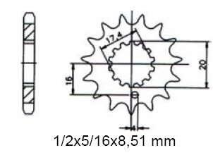 Ritzel pinion 17 Z. Sachs 125 ZX, XTC, XTV, ZZ