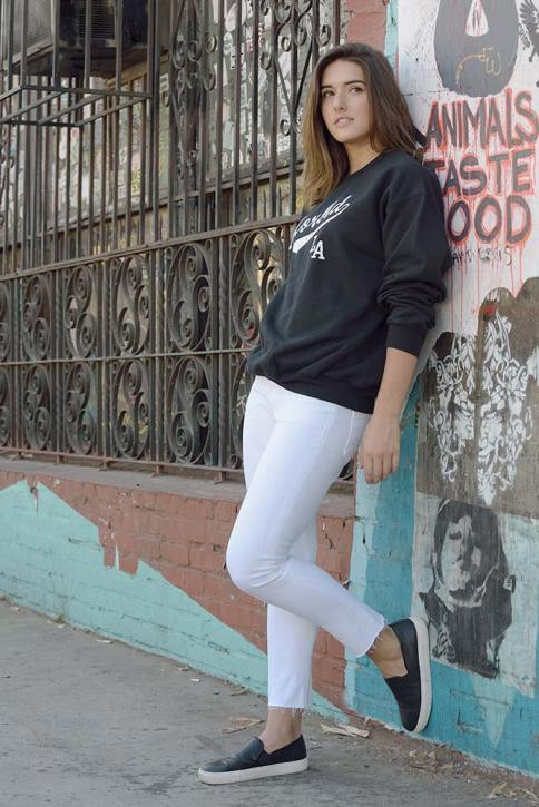 Morbid Fiber Los Angeles Streetwear Sporty Black Crewneck