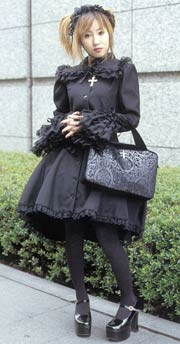 Japanese Lolita Goth Black Dress