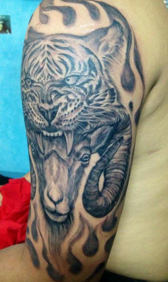 year of the tiger and ram zodiac tattoo. Black Bedroom Furniture Sets. Home Design Ideas