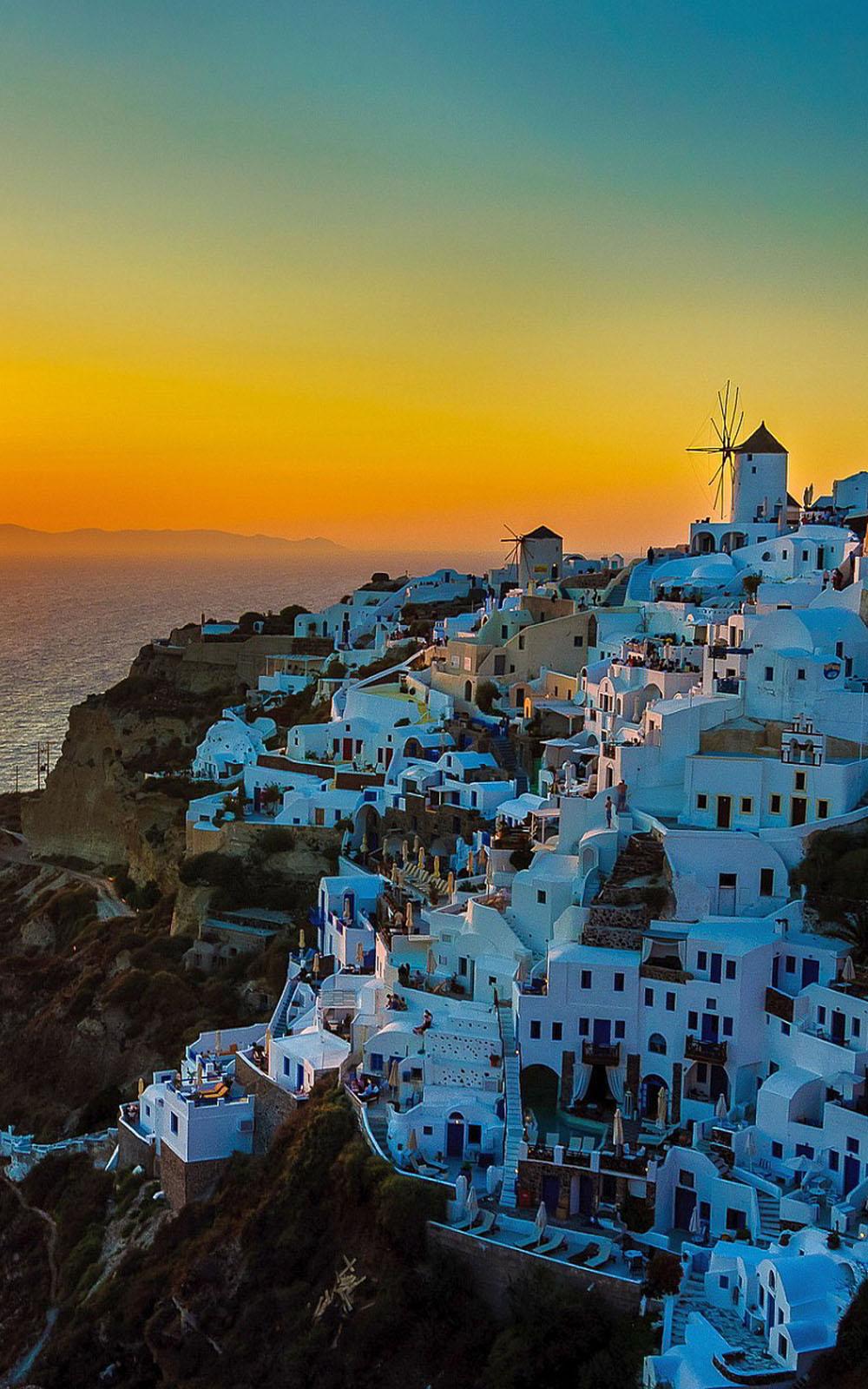 Whatsapp Car Wallpaper Download Sunset View Of Santorini Island Download Free Hd Mobile