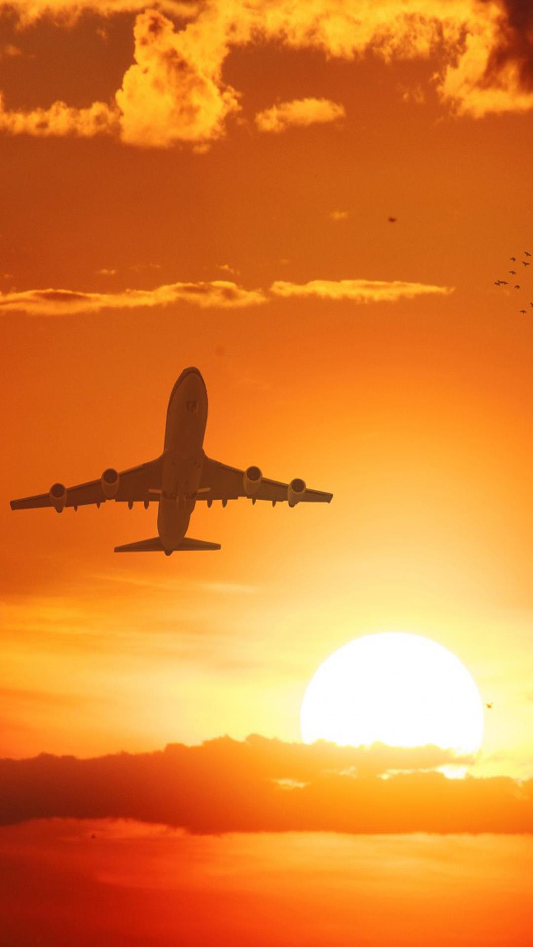 Ganapati Wallpaper Hd Download Airplane Flight Sunset Clouds Free Pure 4k Ultra