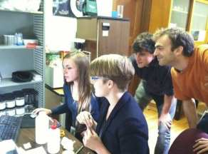 Alexandra, Gracen, Max, & Ben working in the Ant Lab – October 2011