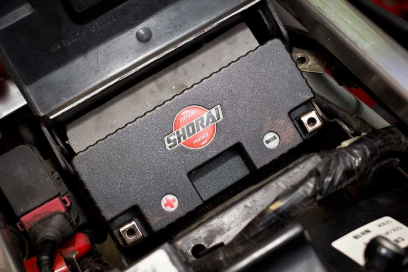 Foam is supplied with the battery, to fit in larger battery boxes.