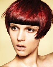 bob with fringe red hair color