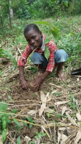 SAMUEL SON WITH HIS PLANTED MAHOGANY TREE