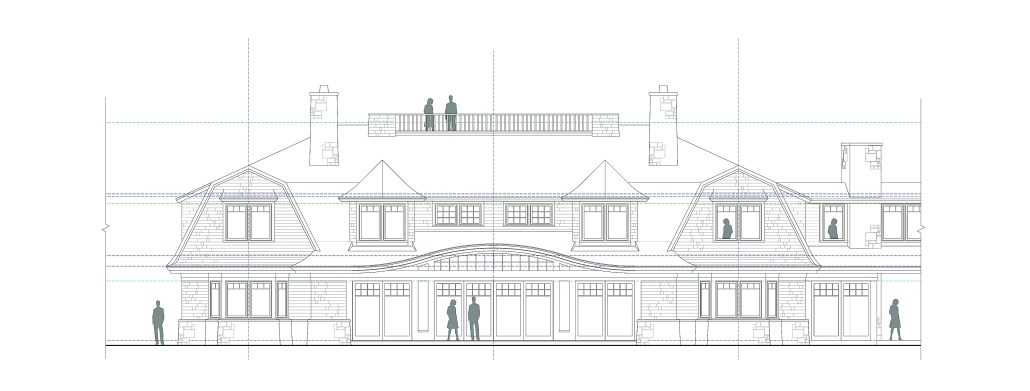 Rendering of a shingle-style home elevation
