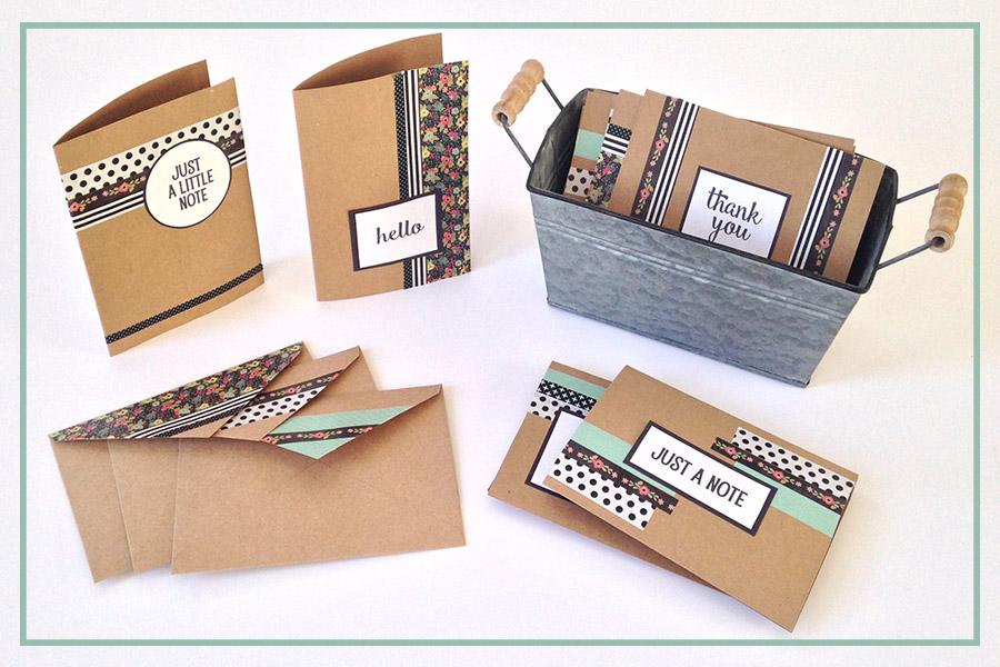 DIY Washi Tape Notecards: Free Printable Embellishments