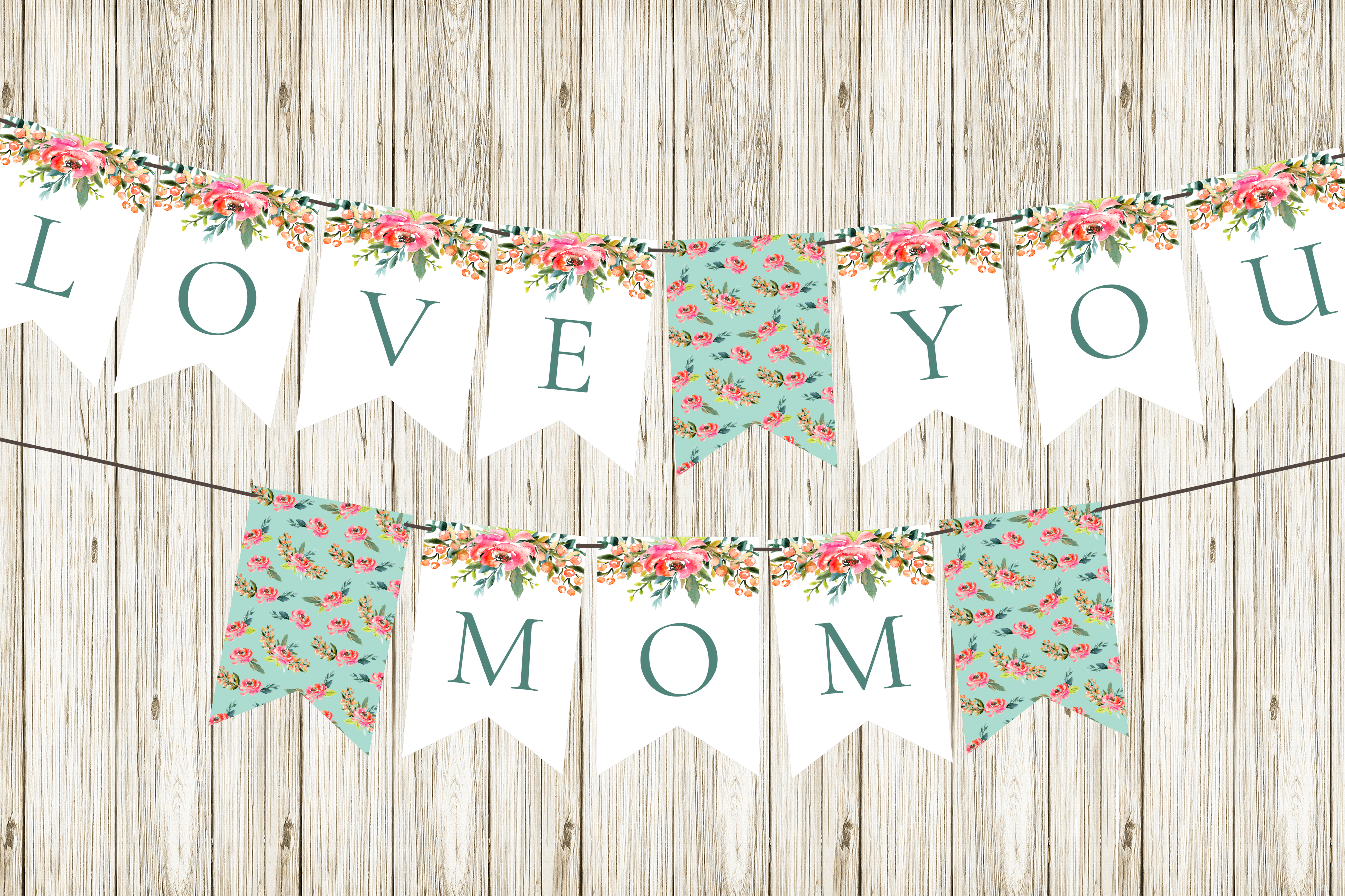 DIY Mother's Day Bunting:  Free Printable Mother's Day Decorations