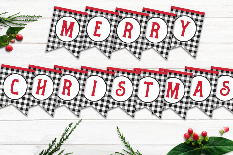 Free Printable Buffalo Check Christmas Bunting