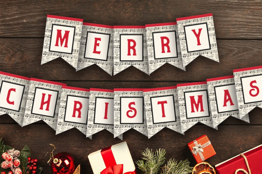 Musical Merry Christmas Bunting