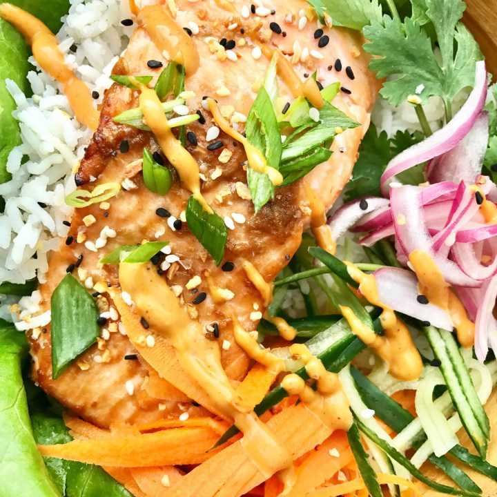 asian salmon bowls