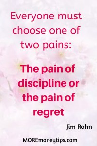Jim Rohn quote about the two types of pain