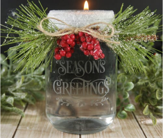 etched holiday candle holder