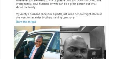 Twitter Influencer, Pamilerin Accuses His Aunt's Husband Of Allegedly Killing Her