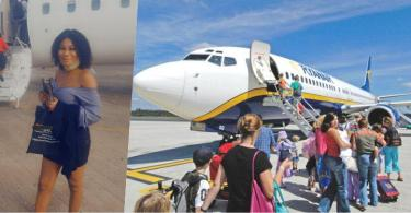 Nigerian Lady Celebrates As She Flies In An Airplane For The First Time
