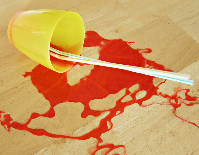 Spilled juice April fool's prank
