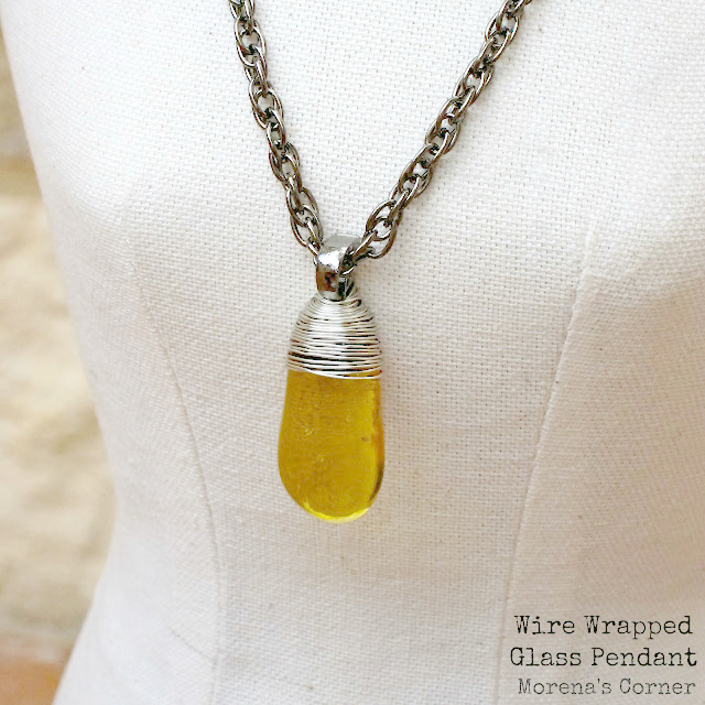 Wire Wrapped Dollar Store Glass Pendant - Morena\'s Corner