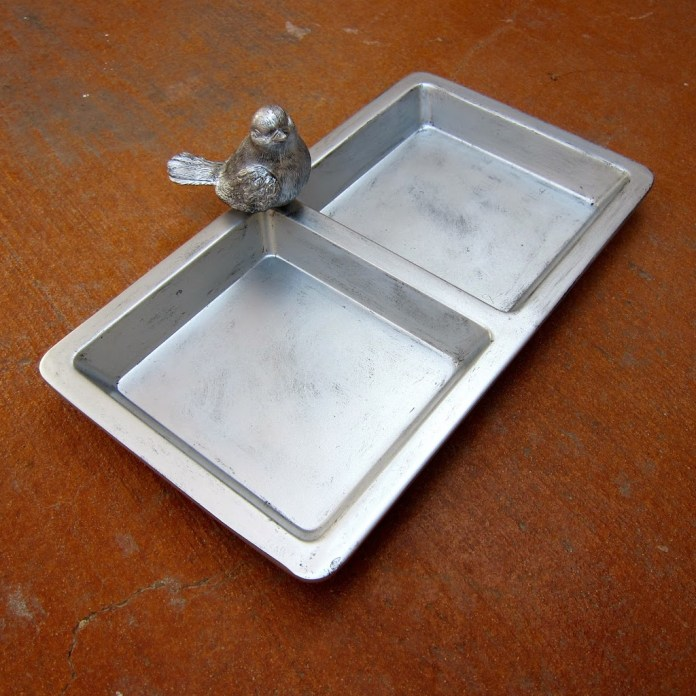 faux pewter tray