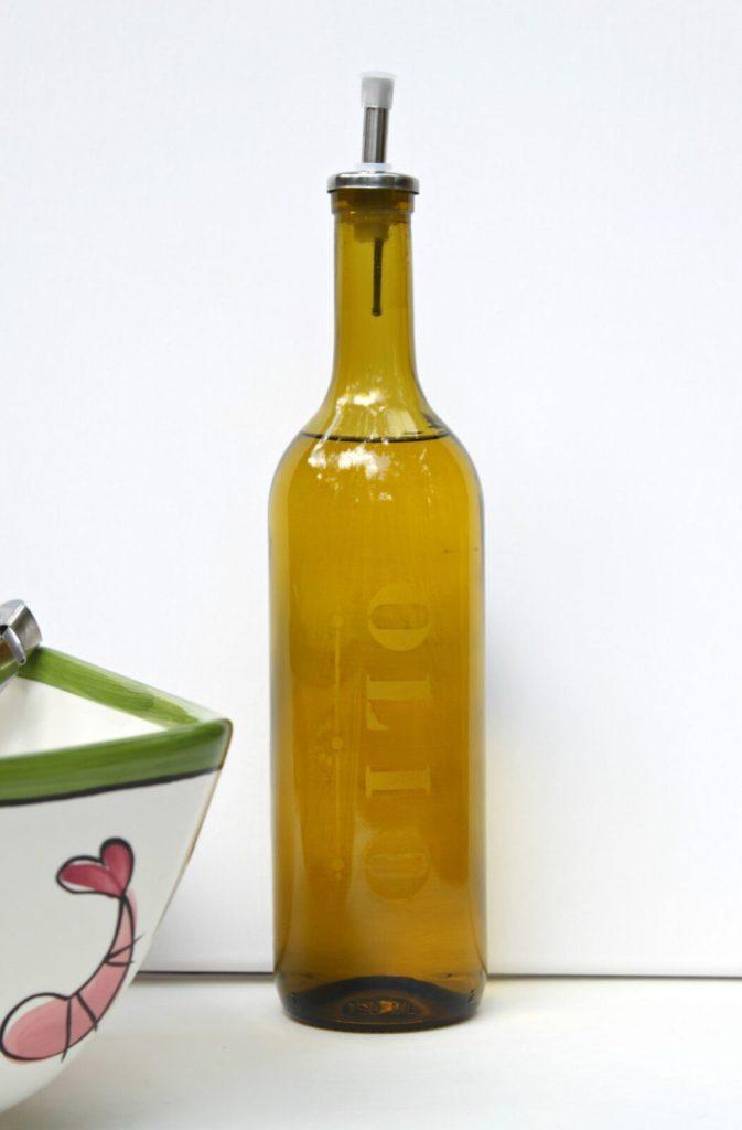 etched oil bottle
