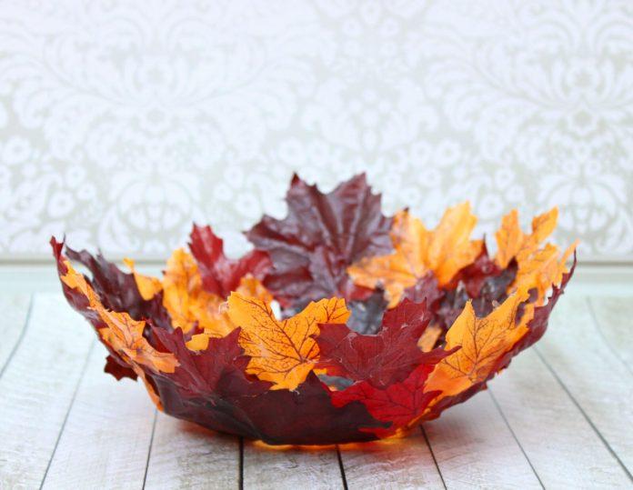 tutorial to make a DIY leaf bowl with Mod Podge