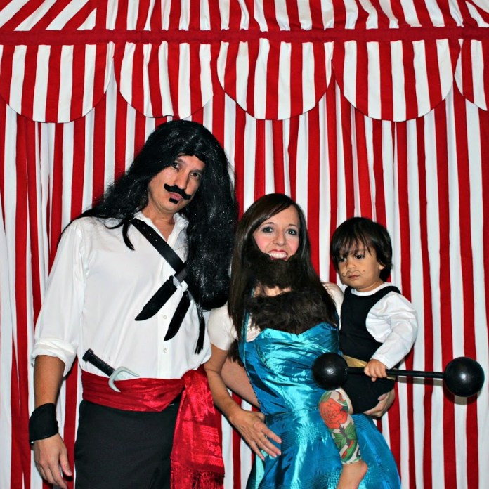 family circus costumes strong man bearded lady