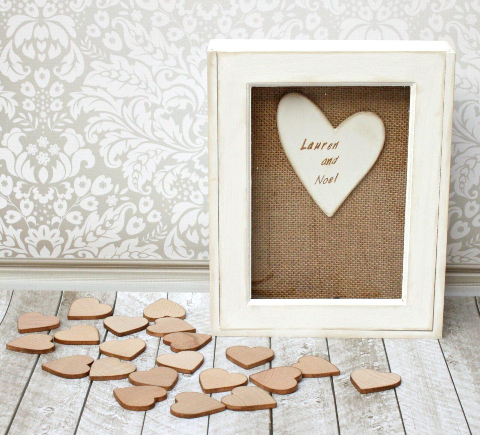 Wedding Guest Book Diy Wood Hearts Frame Morenas Corner