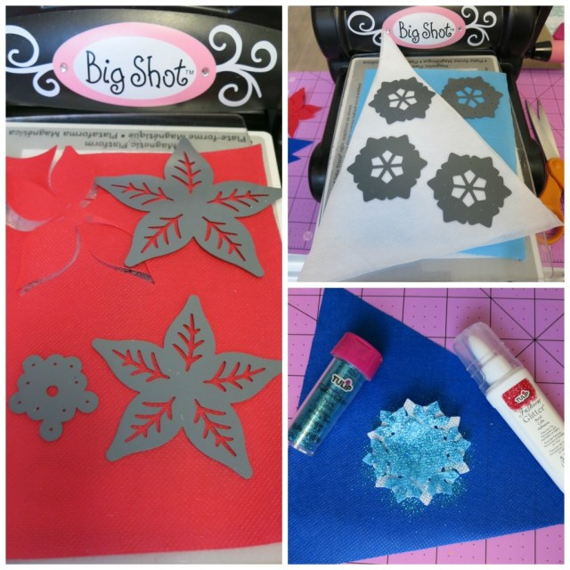 Make Christmas hair bows in minutes by using Oly-Fun, a non fraying fabric, with dies and your die cutting machine. Adorable!